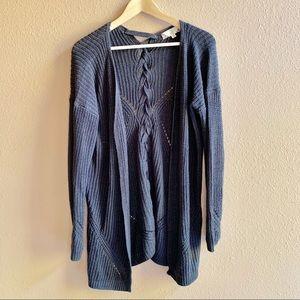 Pink Rose | Blue Gray Knit Cardigan M